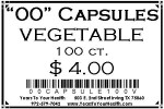 '00' Vegetable Capsules - 100 count per package - Product Image