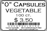 '0' Vegetable Capsules - 100 count per package - Product Image