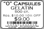 '0' Gelatin Capsules - 500 count per package - Product Image