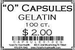 '0' Gelatin Capsules - 100 count per package - Product Image