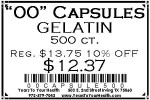 '00' Gelatin Capsules - 500 count per package - Product Image