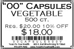'00' Vegetable Capsules - 500 count per package - Product Image