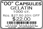 '00' Gelatin Capsules - 1000 count per package - Product Image