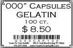 '000' Gelatin Capsules - 100 count per package - Product Image