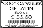 '000' Gelatin Capsules - 500 count per package - Product Image