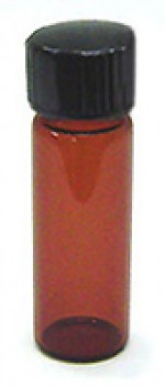 1/8 oz. amber glass bottle with cap - Product Image