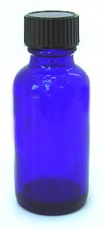 1 oz. blue glass bottle with cap - Product Image