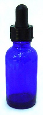 1 oz. blue glass bottle with dropper - Product Image