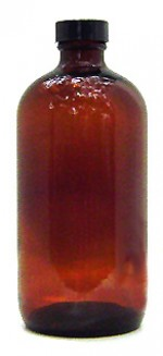 16 oz. amber glass bottle with cap - Product Image