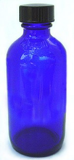 2 oz. blue glass bottle with cap - Product Image