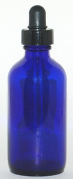 4 oz. blue glass bottle with dropper - Product Image