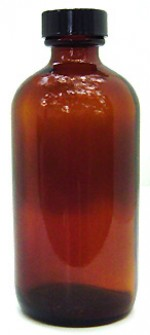 8 oz. amber glass bottle with cap - Product Image