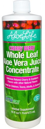 Aloe Life - Whole Leaf Aloe Vera Juice Concentrate, Cherry Berry Flavor - 16 oz. - Product Image