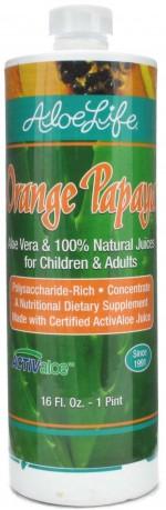 Aloe Life - Whole Leaf Aloe Vera Juice Concentrate, Orange Papaya Flavor - 16 oz. - Product Image