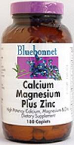 Bluebonnet Calcium Magnesium Zinc Caplets - 180 caplets - Product Image