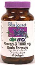 Bluebonnet Natural Omega-3 1000 mg. Brain Formula Softgels - 60 softgels - Product Image