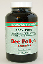 YS Organic Bee Farms Bee Pollen Capsules 500 mg. - 200 caps - #8B6 - Product Image