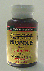 YS Organic Bee Farms Propolis 400 mg. with Echinacea Capsules - 60 caps - #975 - Product Image