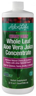 Aloe Life - Whole Leaf Aloe Vera Juice Concentrate, Cherry Berry Flavor - 32 oz. - Product Image