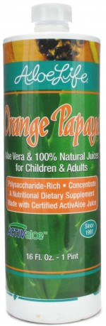 Aloe Life - Whole Leaf Aloe Vera Juice Concentrate, Orange Papaya Flavor - 16 oz. - Product Image