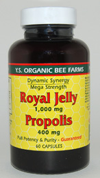 YS Organic Bee Farms Royal Jelly Plus Propolis Capsules - 60 capsules - #739 - Product Image